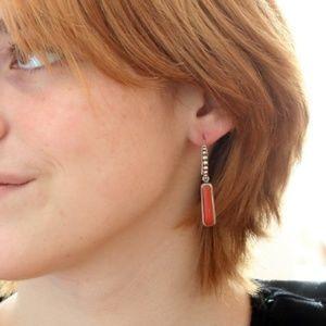 AAA CORAL Earrings Sterling Silver Long Elegant